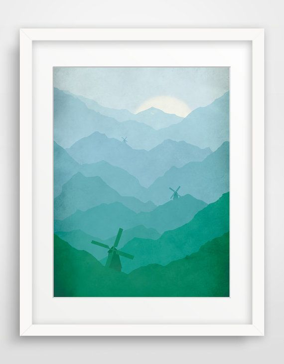 SALE Large Nursery Art, Windmill Art Print, Nursery Decor, Children Wall Art on Etsy, $32.00