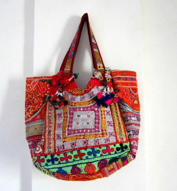 Buy Ethnic Indian Designer  Banjara Bag Patchwork Bag, Tribal Bag, Gypsy Bag, Ethnic Boho, Tote Antique Bags, Authentic handmade large bag by elephantsofindia. Explore more products on http://elephantsofindia.etsy.com