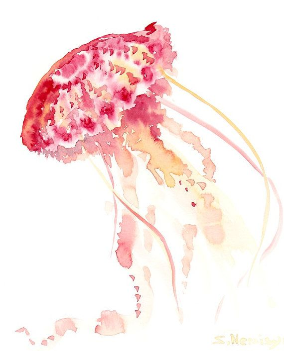 Jelly Fish Original Watercolor Paitning 10 X 8 In Sea