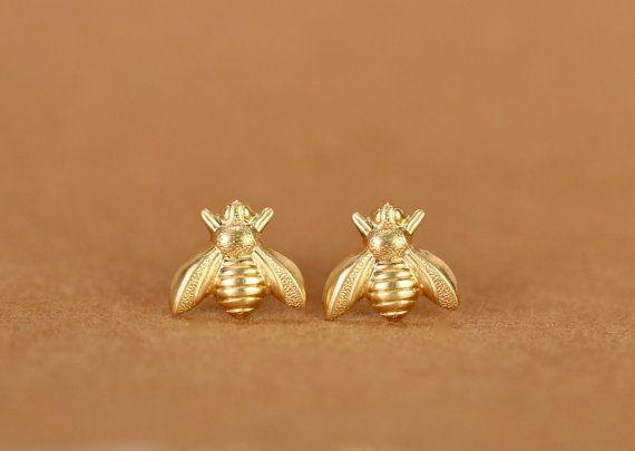 Bee earrings  bee studs  bumble bees  summer earrings  by BubuRuby