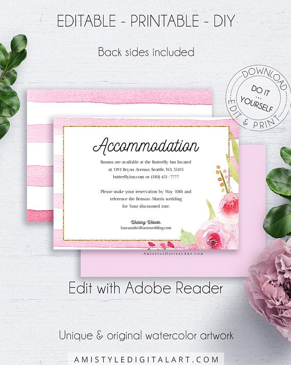 Romantic Floral Accommodation Info, with adorable and charming watercolor floral graphics and stripes, for the lovers of the romantic and shabby chic style.This stunning wedding accommodation insert card template is an instant download EDITABLE PDF pack so you can download it right away, DIY edit and print it at home or at your local copy shop by Amistyle Digital Art on Etsy