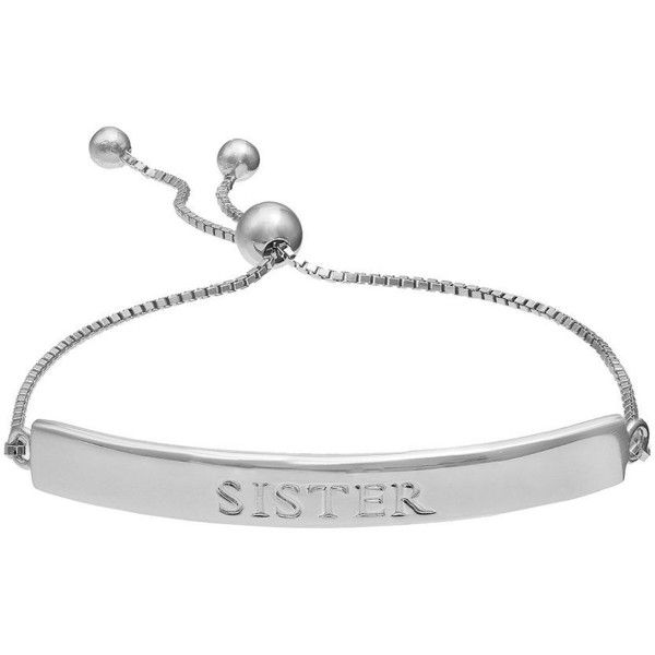 """Sterling Silver \""""Sister\"""" Bar Lariat Bracelet (£96) ❤ liked on Polyvore featuring jewelry, bracelets, silver, sterling silver jewellery, sterling silver bangles, adjustable bangles, sterling silver jewelry and sterling silver adjustable bangle"""