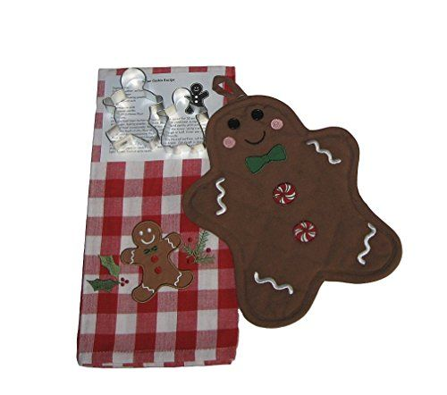 Gingerbread Boy Girl Kitchen Set  Dish Towel Oven Mitt Cookie Cutters and Recipe 5 Items *** You can find more details by visiting the image link.