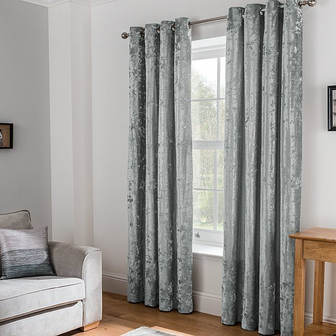 Grey Embossed Crushed Velvet Eyelet Curtains Home Garden George Velvet Curtains Living Room Curtains Latest Curtain Designs