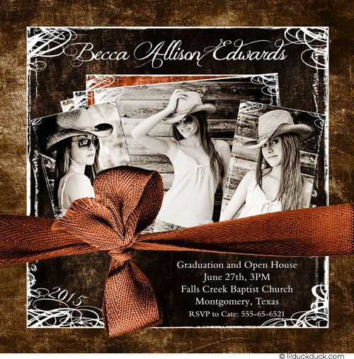 Cowgirl Burnt Orange & Brown Senior 2015 Three Photo Graduation & Open House Card