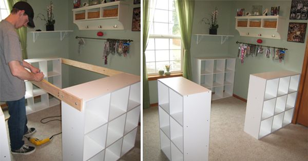 He Connected Three IKEA Bookshelves With Wood To Make THIS For His Wife! The Result? So USEFUL!