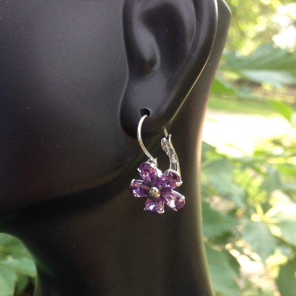 "Swarovski Element Platinum Earrings FINAL PRICE Platinum plated purple flower earrings. 1"" long, flower is ~0.5"" wide.  Swarovski crystals. Gorgeous! Brand new! Jewelry Earrings"