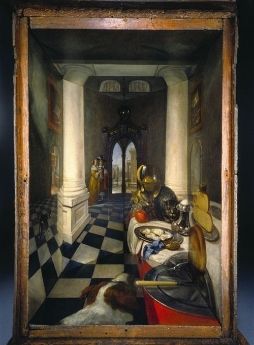 Samuel van Hoogstraten - Perspective Box of a Dutch Interior (1663) oil paint, glass mirror and walnut