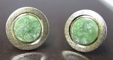 Vintage Swank Brushed Gold & Green Semi-Precious Gemstone Round Cufflinks Signed