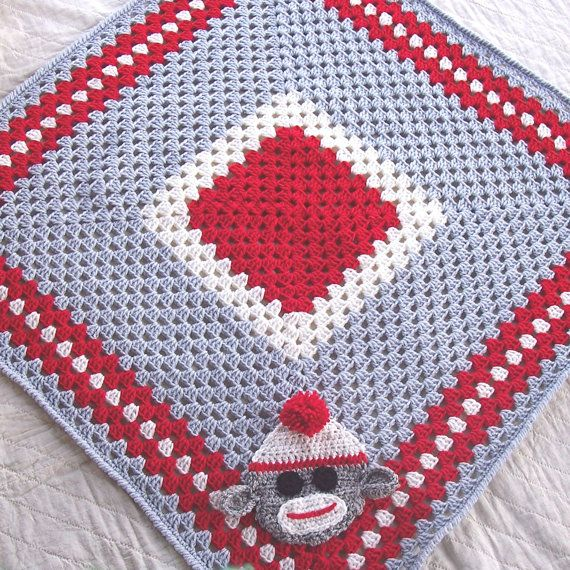 Sock Monkey Granny Square Blanket - Red and Gray Crochet ...