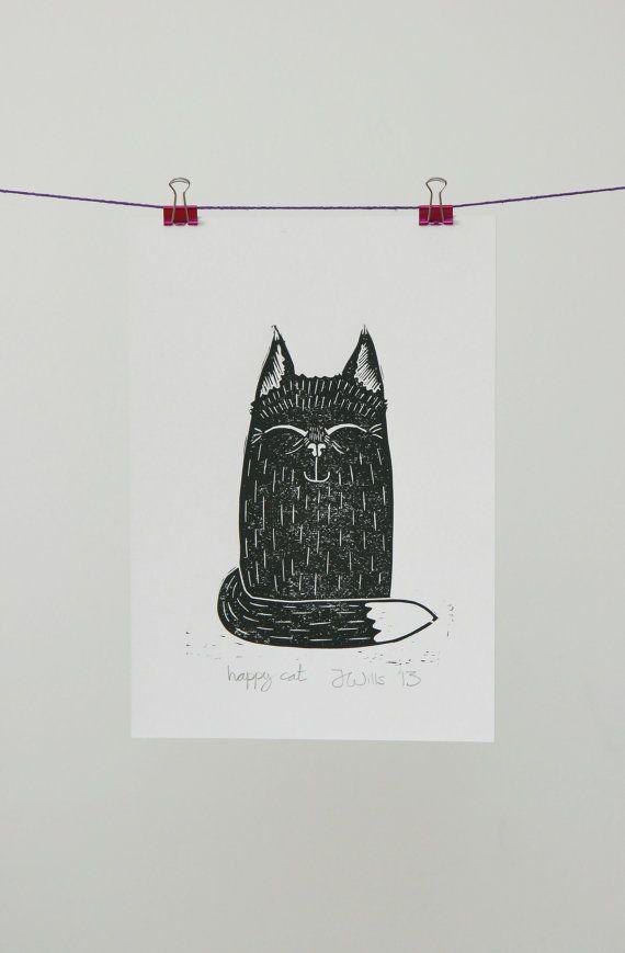 Happy, Cat, Lino print, Block print, Linocut