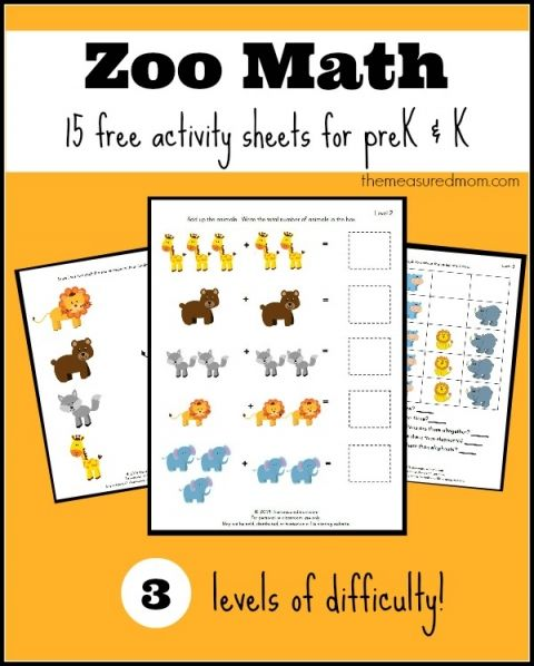 zoo math activity sheets for prek and k  - the measured mom