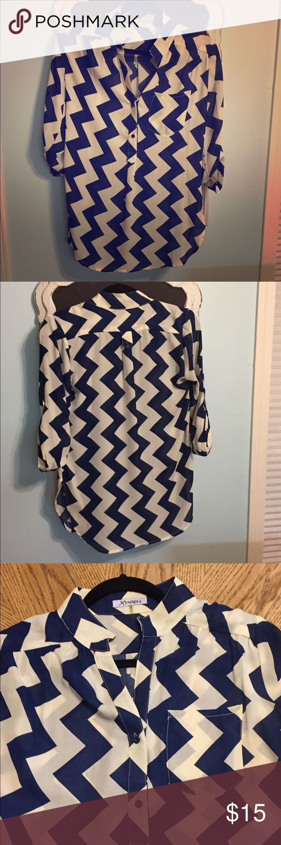 Chevron blouse Blue and off white Chevron blouse with quarter length sleeves, sheer, 100% polyester, great condition from smoke free home Xtaren Tops Blouses