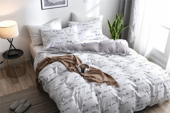 Cartoon Eyelash Duvet Cover Set White Warm Winter Comforter Cover Concise Style Quilt Cover Pillowca