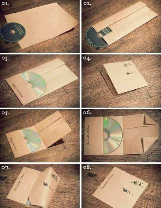 Homemade CD sleeves. Also see the Origami-Resource Center http://www.origami-resource-center.com/CD-covers.html ;)