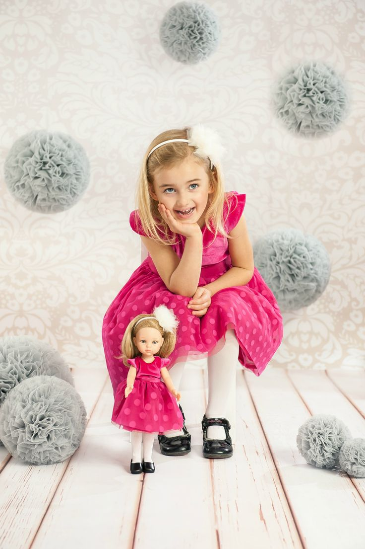 Royal, elegant pink dress with tullee polka dotts  for girl and doll. Doll accessories. Doll world. Puppe die sieht wie kind aus.