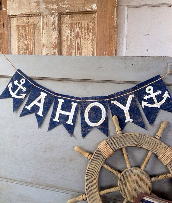 READY TO SHIP!! CUSTOM COLORs AVAILABLE  This banner says AHOY IN MY BLOCK FONT surrounded by two adorable ANCHORS with antique gold accent (upon