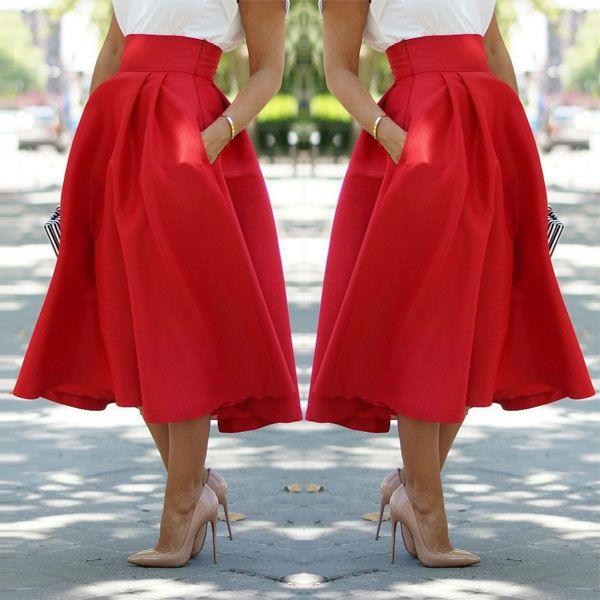 Estilo-del-verano-2015-nuevas-faldas-para-mujer-faldas-largas-rojo-de-la-alta-cintura-y.jpg (600×600)