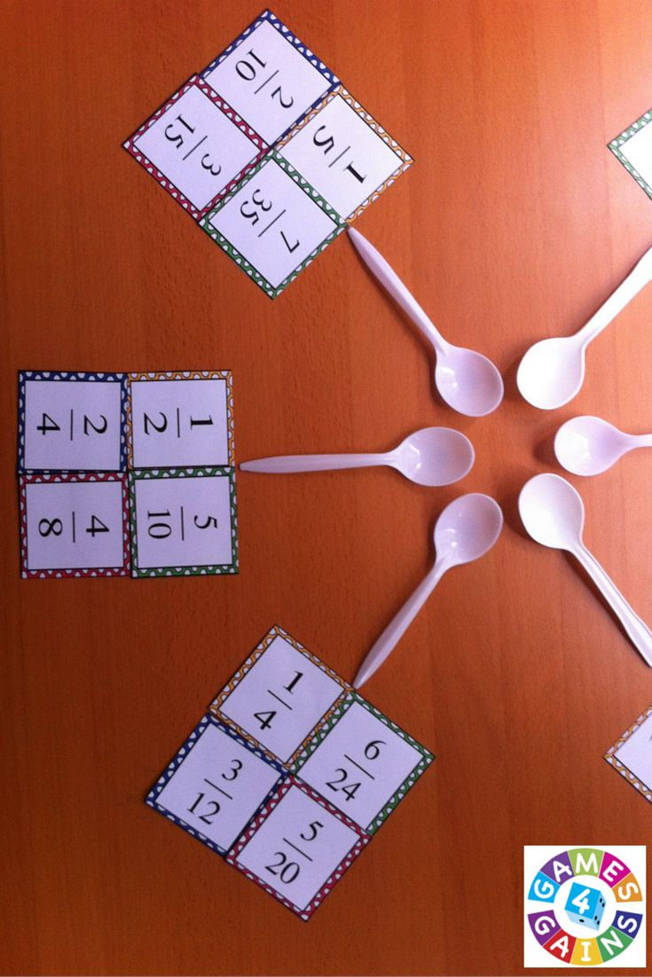 "Want a fun, low-prep equivalent fractions game to use in your math centers tomorrow? Read about how we've put an equivalent fractions twist on the classic ""Spoons"" game and get your FREE equivalent fractions cards to use at games4gains.com."
