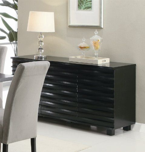 Lovely Server Sideboard with Wave Design in Rich Black Finish by Coaster Home Furnishings http