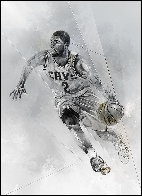 Kyrie Irving by Alexis Marcou Scrapping Sport Poster