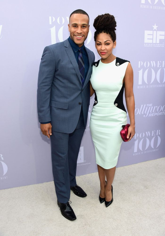 Meagan Good posed alongside her husband Devon Franklin while sporting a black and white midi dress.