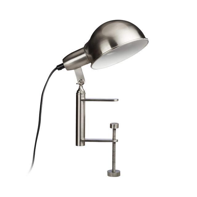 Lampada Con Pinza Clip Grigia Da Tavolo Morsetto Avvitabile E27 Nichel Opaco Hlp 27 X 15 X 22 Lampade Tavolo Argento