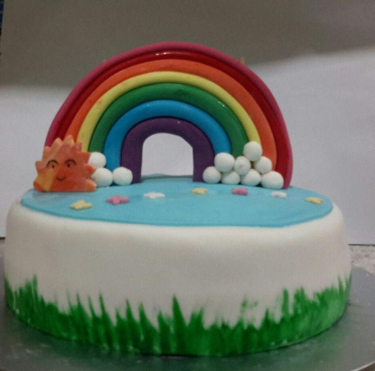 Simple rainbow cake idea
