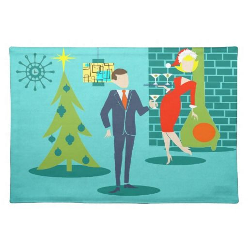 Retro Holiday Cartoon Couple Placemat--#decor #decorations #holiday #Christmas #placemats #entertaining #cocktails #retro #1960s #MidCentury #Zazzle