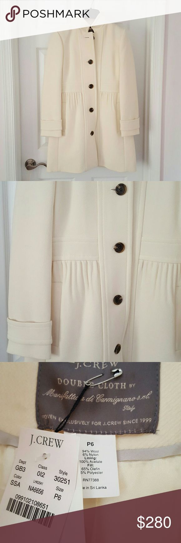 J Crew wool Double Coat Beautiful  ivory Italian wool J Crew  coat with thinsulate insulation. This coat have all the details and will keep u extra warm .Size is 6 petit. Brand new . J. Crew Jackets & Coats