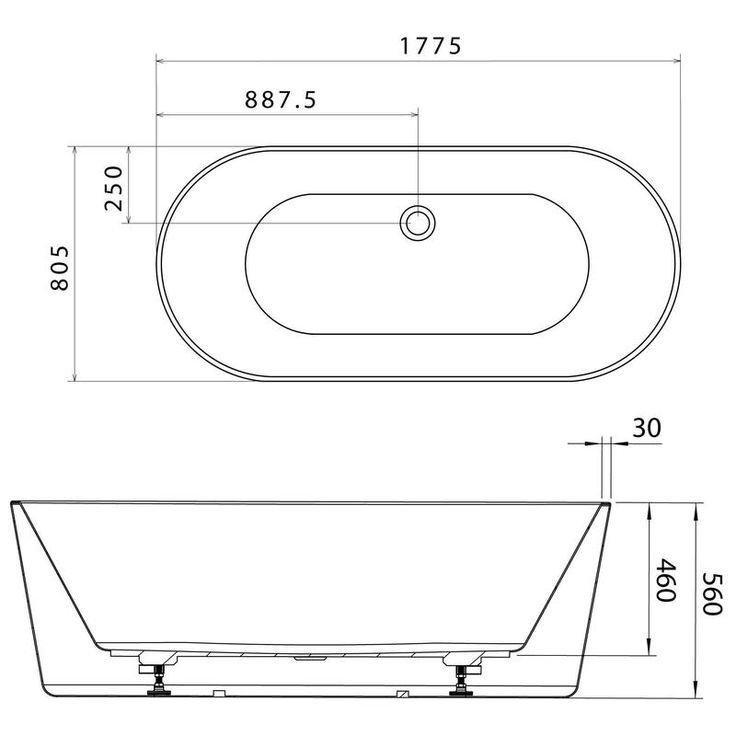 Caroma Aura1800_Freestanding Bath_PBLD