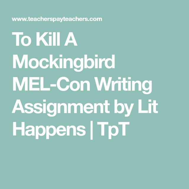 To Kill A Mockingbird MEL-Con Writing Assignment by Lit Happens | TpT