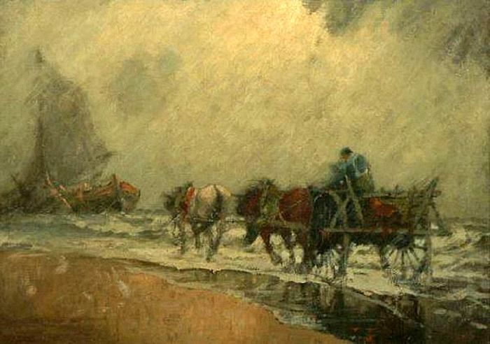 Jozef Israels (1824-1911) Een tandem paarden voor de kar rijdt naar de bomschuit, die is teruggekomen van de vangst.