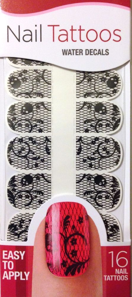 Kiss Nail Tattoos Nail Art Black Skulls & Fishnets Lace 16 Water Decals   #KissNails