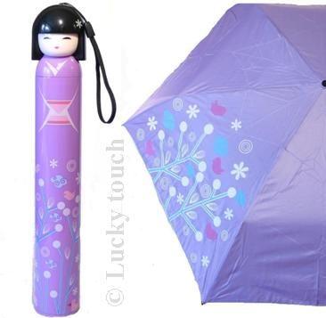 Paraplu Kokeshi. Paralplu in de vorm van een Japans gelukspoppetje. Verkrijgbaar in paars en blauw