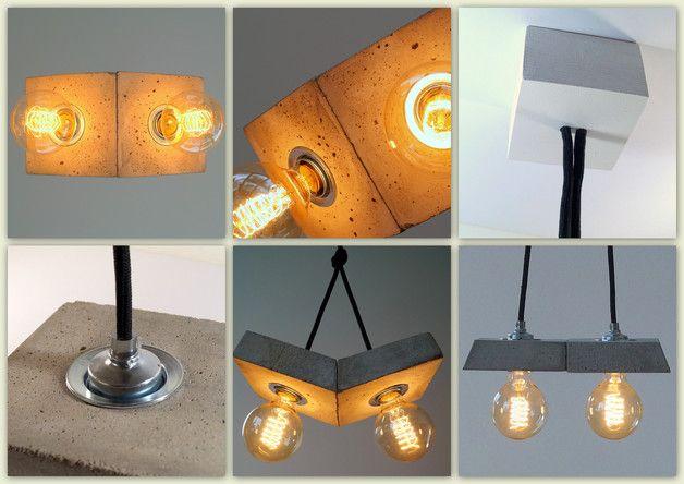 Deckenlampen, Betonlampe,  Hängelampe. - ein Designerstück von Uniikat-Shop bei DaWanda    -----------------  Lamp, Lampe, Beton, Design, Concrete, Fabric Cable, concrete lamp, Hängelampe, pendant,  industrial, Lampe, Beton,  Textilkabel