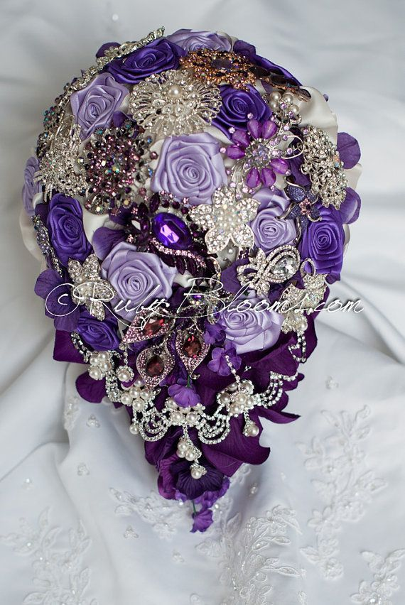 "Purple Brooch Bouquet | Cascading Purple Wedding brooch bouquet. Deposit - ""Purple Fantasy ..."