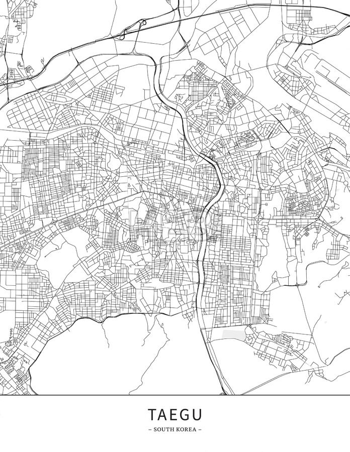 Taegu, South Korea, Map poster borderless print template. Black streets, railways and grey water on white. This map will show only basic shapes for la... ... #download #poster #map #stockimage #graphic #cityposter #citymap #city