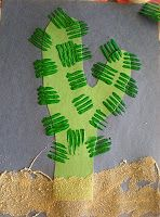"Cute! Cactuses with fork spines and sand glued on - this would be good for a ""cowboy"" or ""Wild West"" Storytime!"