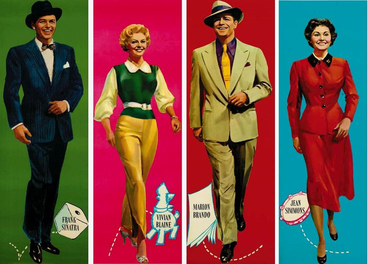 "Artwork for Joseph L. Mankiewicz' musical ""Guys and Dolls"" (1955), featuring Frank Sinatra, Vivian Blaine, Marlon Brando and Jean Simmons."