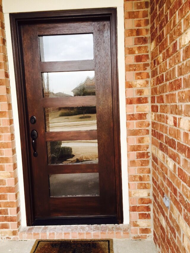 Entry Front Door Minwax Gel Stain Walnut Reed Glass