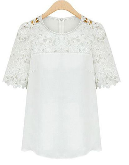 White Short Sleeve Hollow Lace Blouse 16.00