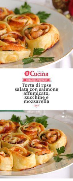 Torta di rose salata con salmone affumicato, zucchine e mozzarella della nostra utente Giovanna. Unisciti alla nostra Community ed invia le tue ricette!
