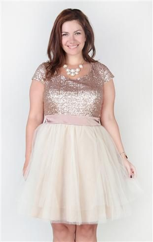 Deb Shops plus size #homecoming dress with sequin cap sleeve bodice and full tulle skirt $74.90