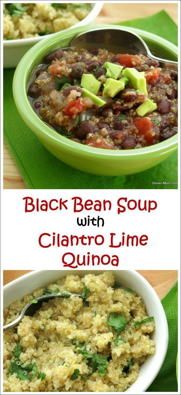 Black Bean Soup over Cilantro Lime Quinoa - this recipe is full of flavor and just happens to be super healthy too! By @DinnerMom