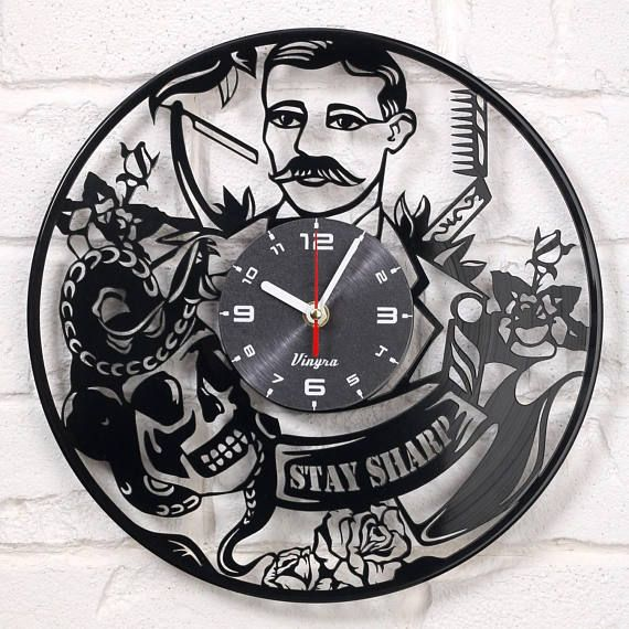 BARBER SHOP CLOCK Vinyl Record Clock Retro Stay Sharp Wall