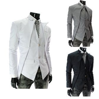 Mens Casual Slim Fit Asymmetric Suits Trench Coats