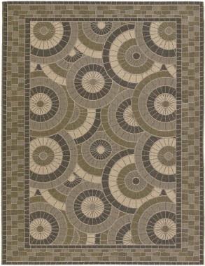 Couristan Five Seasons Sundial Cream / Green Indoor / Outdoor Rug - 3084/1130
