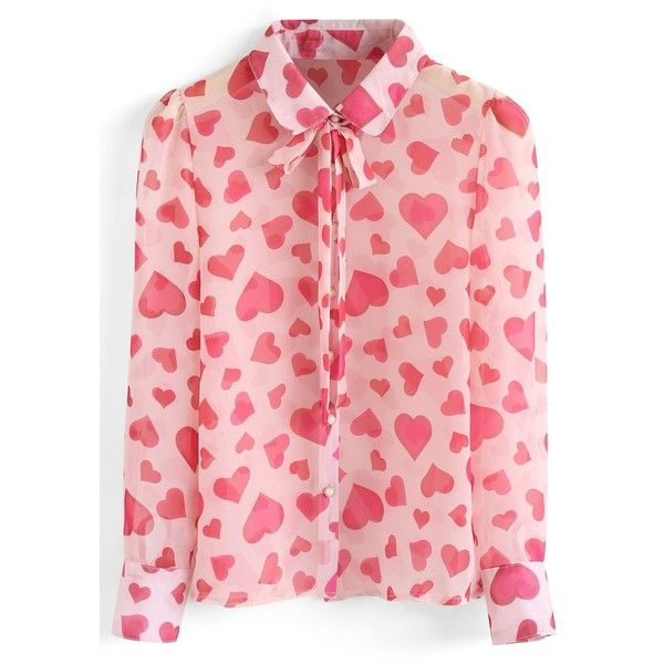 Chicwish Tie Me to Your Heart Semi Sheer Chiffon Shirt in Pink ($37) ❤ liked on Polyvore featuring tops, pink, red heart shirt, tie shirt, red top, heart shirts and heart tops