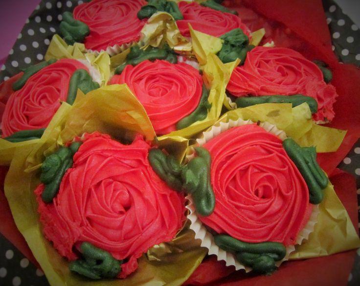 Romantic red cupcake bouquet